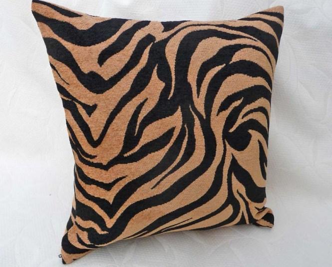 Zebra Cowhide Pillow Black White