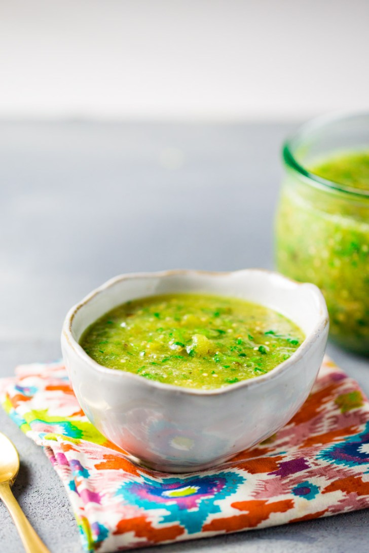 Authentic mexican salsa verde with roasted tomatillo