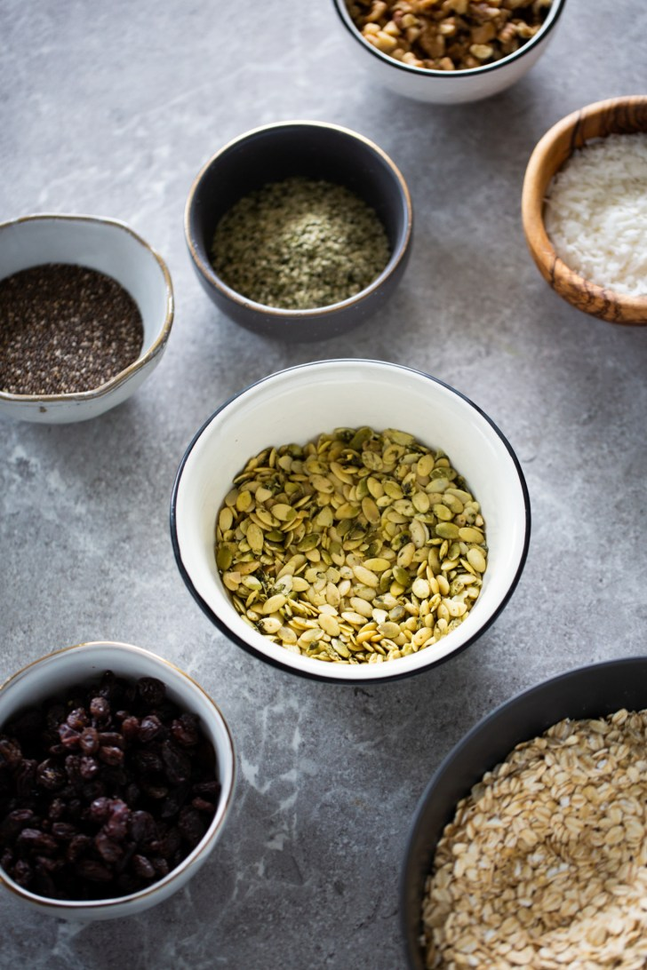 nuts, seeds and other ingredients for making granola