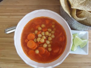 sopa de garbanzo y zanahoria