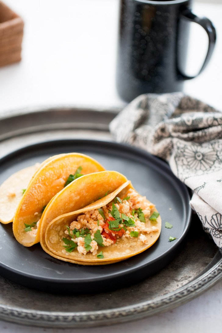 Mexican style tofu scramble breakfast tacos