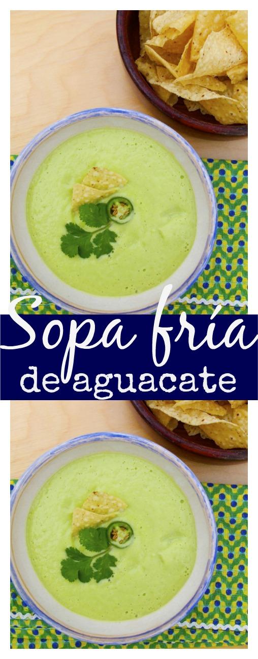 Sopa fría de aguacate con pepino.