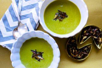 broccoli soup with SHIITAKE MUSHROOM CRISPS