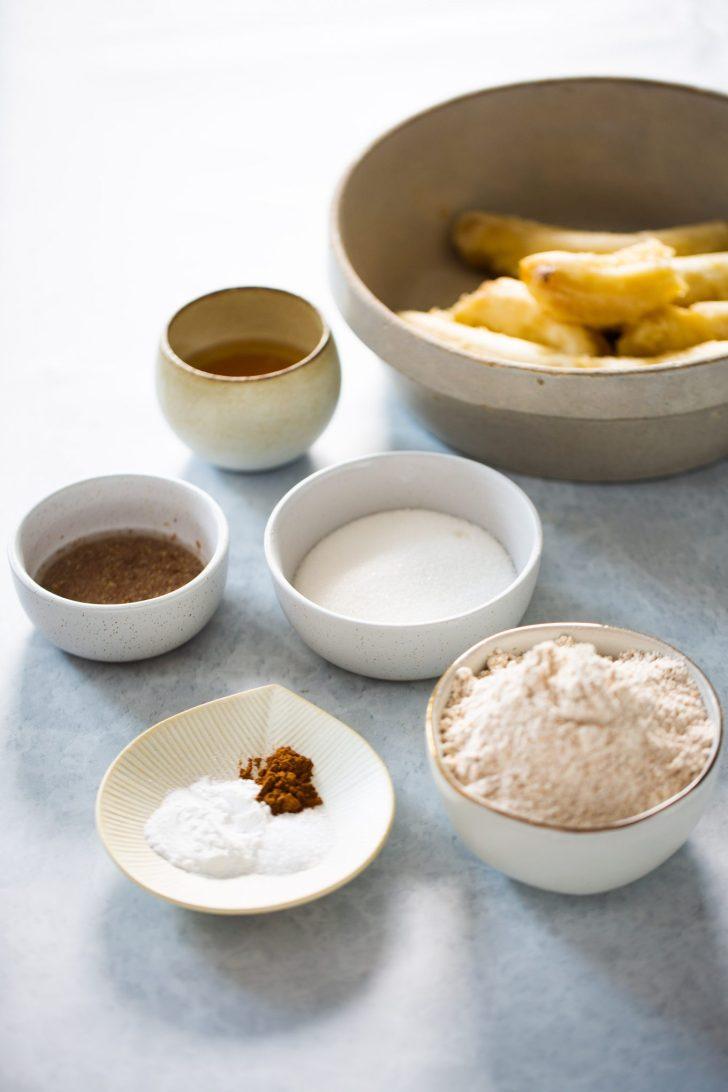 Ingredients to make vegan banana muffins