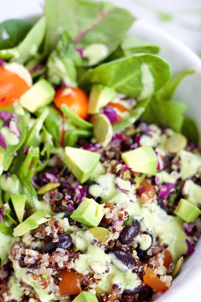 Ensalada de frijol y quinoa y aderezo (1)
