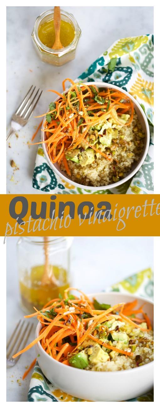 Quinoa con vinagreta de pistaches y zanahorias. La mejor ensalada de esta temporada.