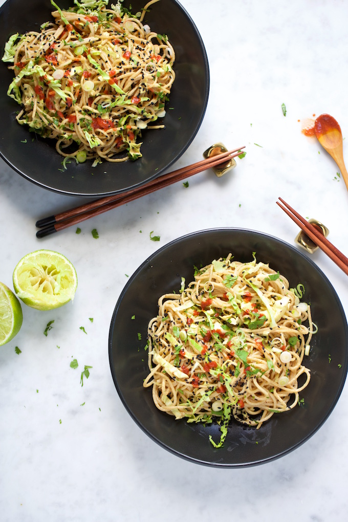Quinoa noodles with almond butter sauce, much better than take-out dinner