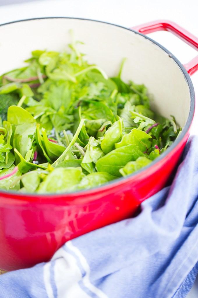 Sopa de brocoli, hojas verdes y alubias. Deliciosa, vegan y super rápida de hacer.