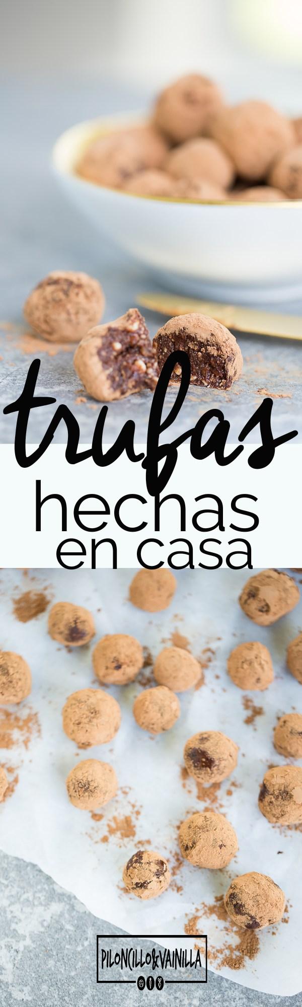Trufas hechas en casa de chocolate, almendars y dátiles hechas en casa en menos de 15 minutos. Son perfectas para satisfacer ese antojito dulce de la tarde.