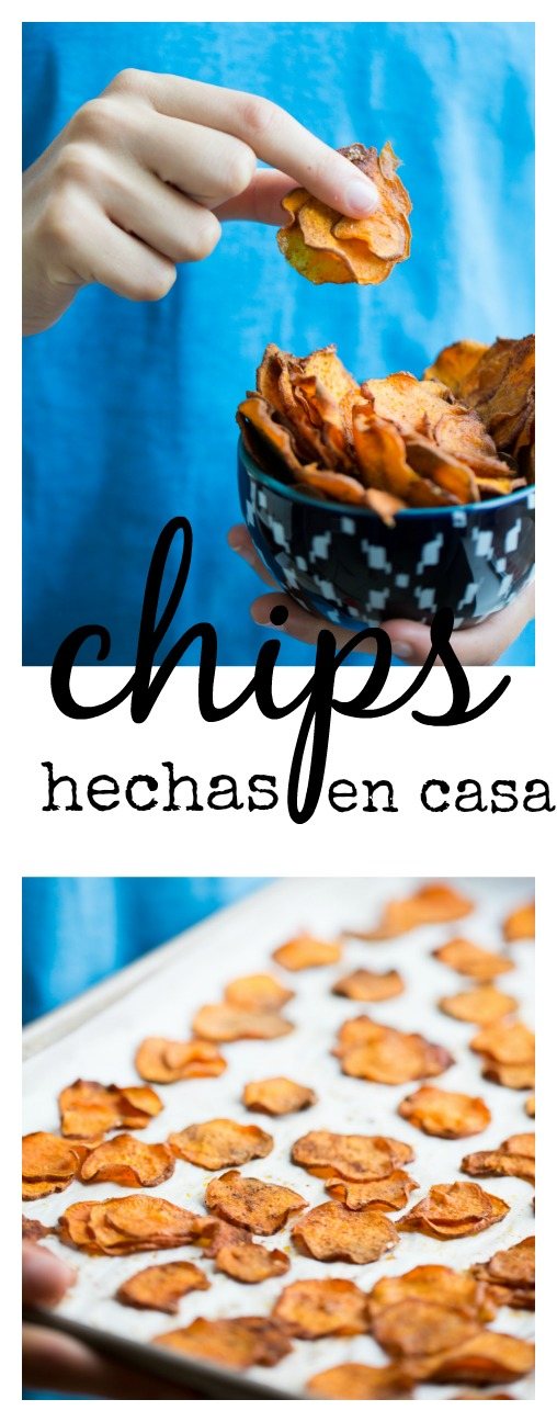 Receta de chips de camote hechas en casa, super fáciles y deliciosas.