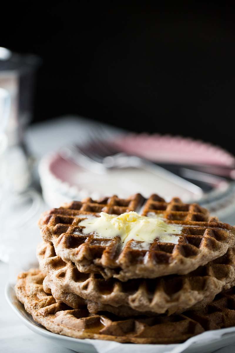 Waffles con proteína de almendra