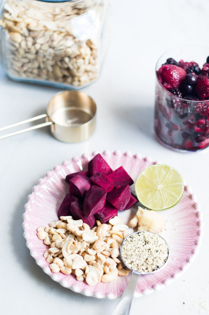 ingredients for a pink vegan smoothie