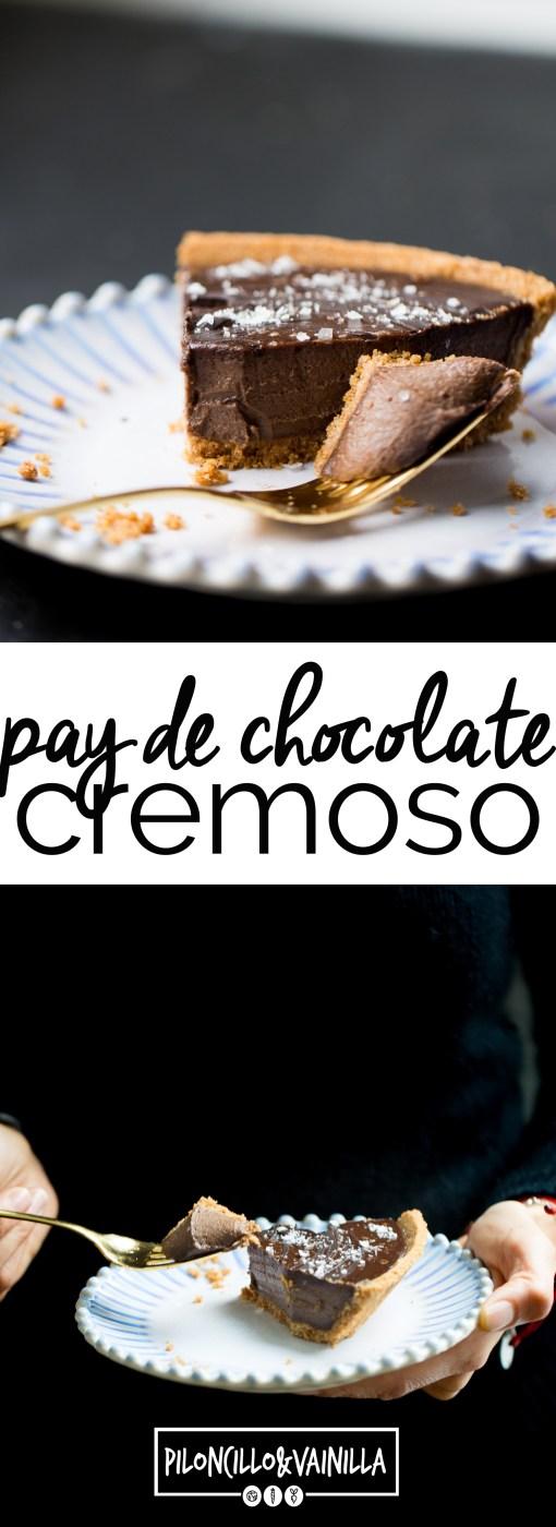 Receta de pay cremoso de chocolate, receta de postre vegano.
