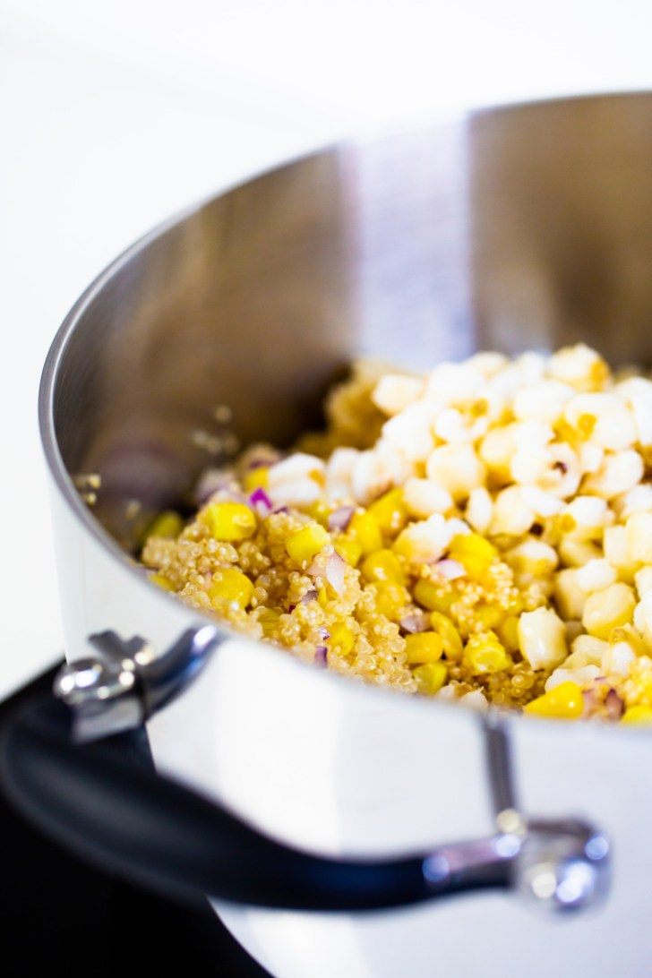 quinoa and corn in a pot