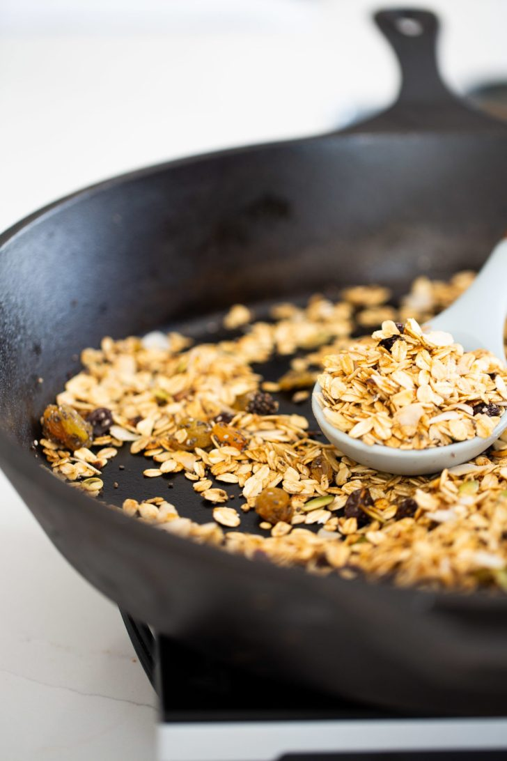 Granola on the skillet