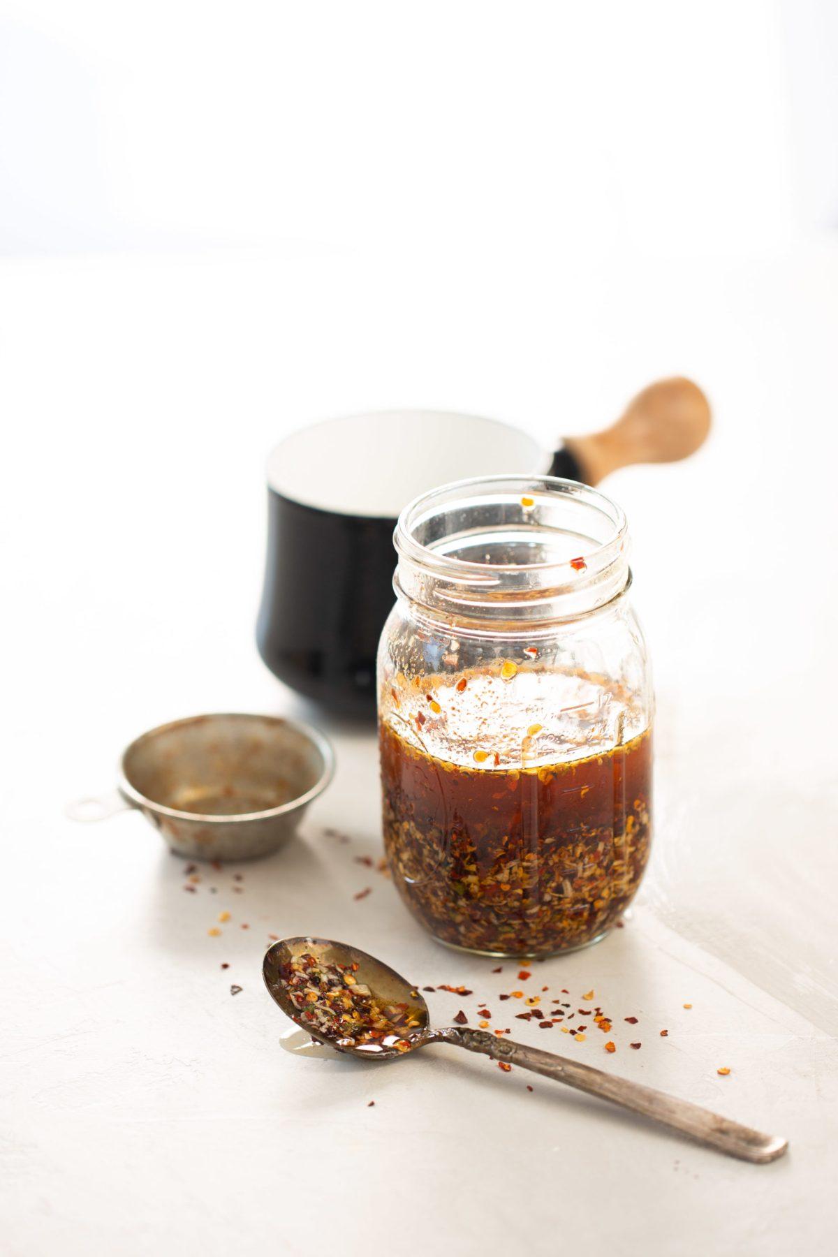 chile crujiente en aceite