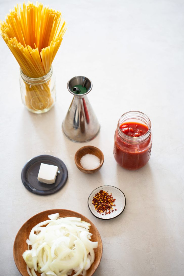 ingredients for ONE PAN TOMATO AND ONION PASTA
