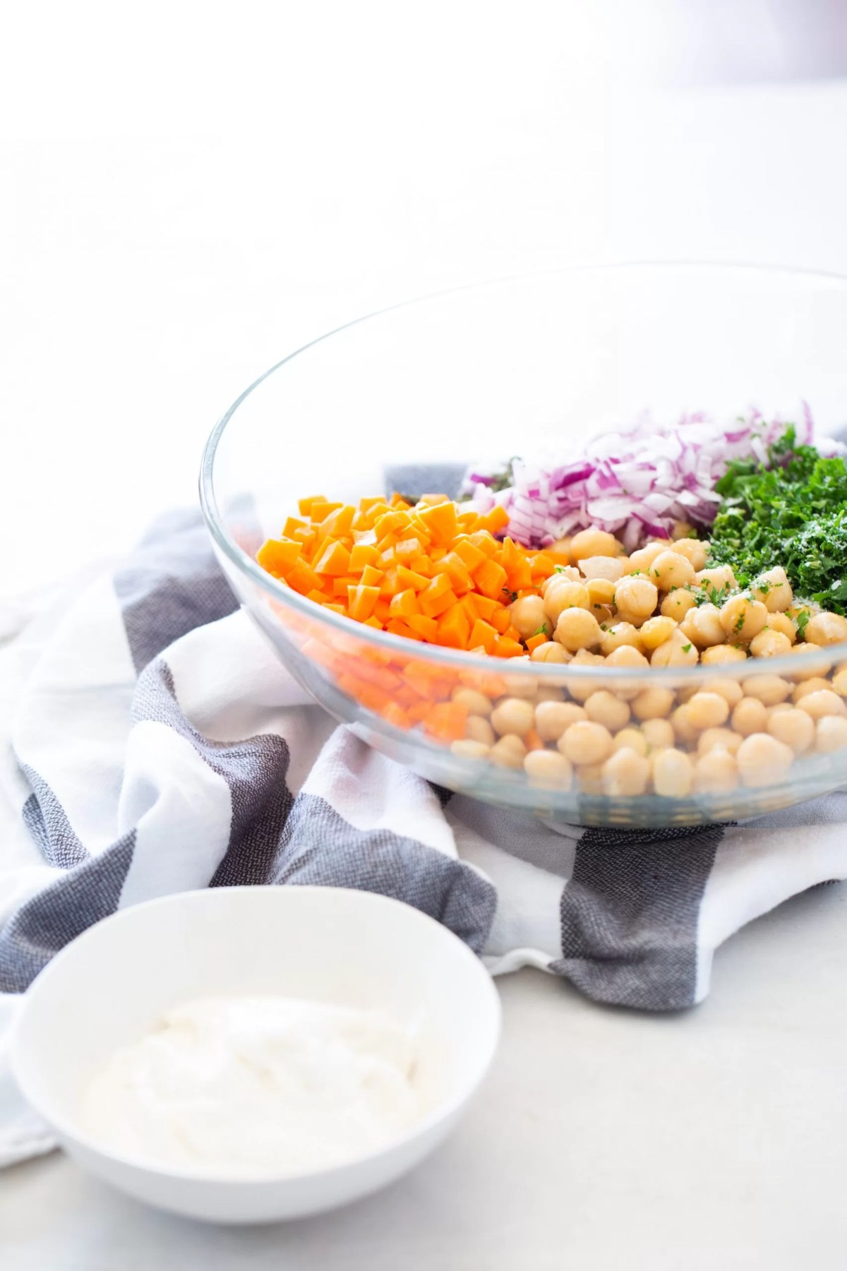 Ingredients to mix to make a vegan chickpea salad