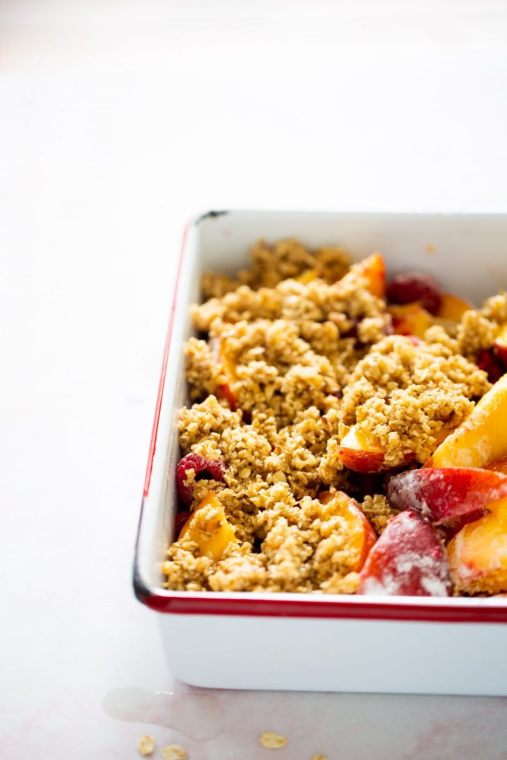 Peach and raspberry crumble.