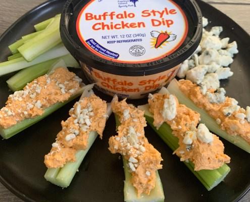 Buffalo Chicken Dip with celery keto friendly