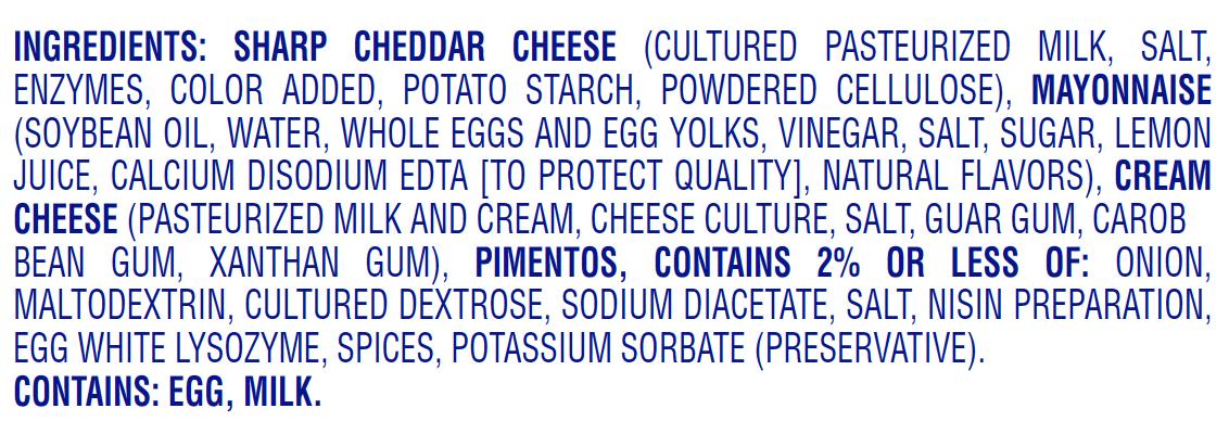 palmetto cheese original pimento cheese nutritional