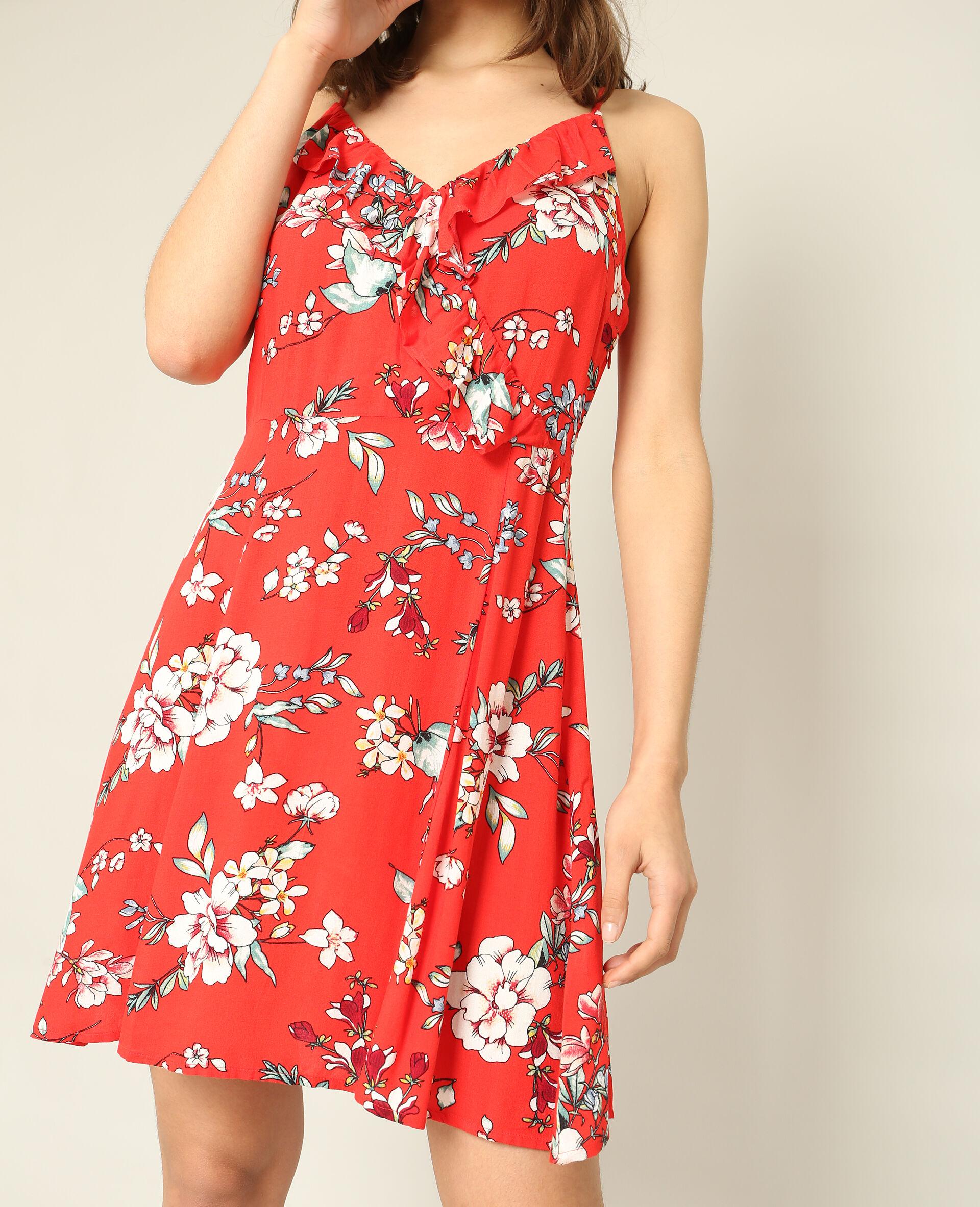 Robe imprimé fleuri rouge