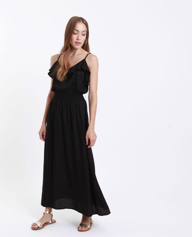 Robe longue avec volant noir
