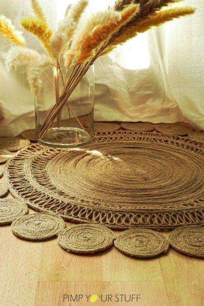 DIY Jute Teppich Boho rund