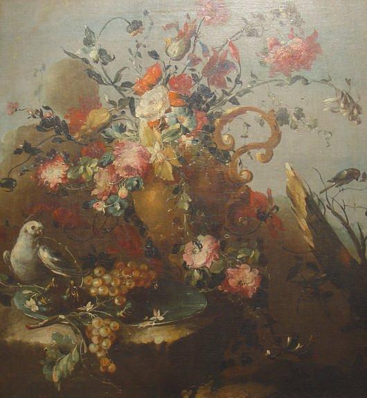 Guardi Francesco (?), Flowers, eggs, and two birds