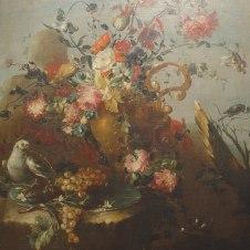Francesco Guardi, attr. (Venezia, 1712 - 1793), Fiori, uva e due uccelli