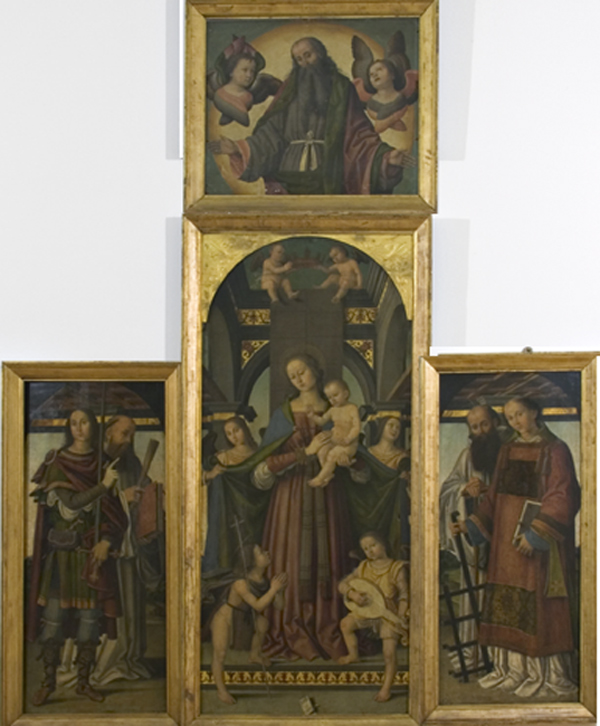 Giovanni Battista Bertucci Sr., Virgin with Child and Angels with Saints Young St. John, Hippolytus, Benedict, Lawrence, and Romuald