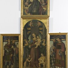 Giovanni Battista Bertucci il Vecchio (Faenza, 1470 ca. - 1516), Madonna col Bambino, e angeli con i Santi Giovannino, Ippolito, Benedetto, Lorenzo e Romualdo; nella cimasa il Padre Eterno