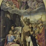 Giacomo Bertucci detto Jacopone da Faenza (Faenza, 1502 - 1579), Disputa sull'Incoronazione della Madonna, con i Santi Benedetto, Giovanni e Matteo Evangelisti, Giovanni Battista, Celestino Papa e il committente