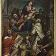 Antonio Libero detto Antonio di Mazzone (Faenza, 1456 - 1534 ca.), Madonna col Bambino e i Santi Pietro, Paolo, Domenico, Luca e Marco Evangelisti