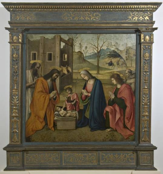Nativity with Saints Jerome, Young John, John the Evangelist and Bernardino of Siena