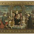Maestro della Pala Bertoni (sec. metà sec. XV), Madonna col Bambino, putti musicanti, San Giovanni Evangelista e il Beato Giacomo Filippo Bertoni