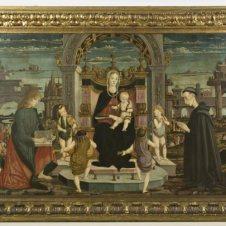 Maestro della Pala Bertoni (Faenza, seconda metà sec. XV), Madonna col Bambino, putti musicanti, San Giovanni Evangelista e il Beato Giacomo Filippo Bertoni