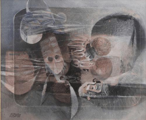 """Giuseppe De Gregorio, Natura morta del pescatore e Natura morta con foglie, s.d. e 1973, Olio su tela, 50x60 e 60x80, Firmati in basso a sinistra """"DE GREGORIO"""""""