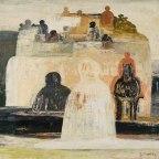"""Salvatore Fiume, Dal ciclo città di statue, 1963 (?), Olio su tela, 64x64, Firmato in basso a destra """"S.Fiume"""""""