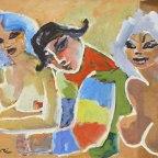 """Mino Maccari, Le amiche di Arlecchino, 1971, Olio su tela, 40x60 Firmato in basso a sinistra: """"Maccari"""""""