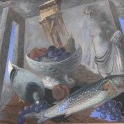 Gino Severini (Cortona, 1883 - Parigi, 1966), Natura morta con ruderi e pesci