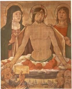 Anonimo romagnolo (fine sec. XV), Madonna, Cristo in Pietà e i Santi Giovanni, Pietro, Francesco e Girolamo,