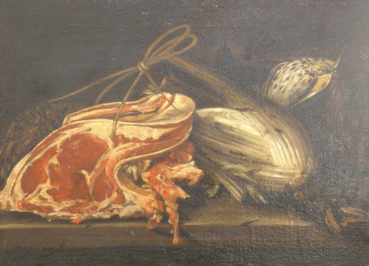 Boselli Felice (ambito di), Natura morta: costata, cardo e selvaggina