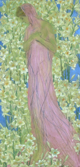 Domenico Baccarini, Young girl amidst lilies