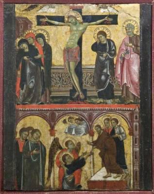 Maestro di Faenza Sec. XIII, Crocifissione e discesa al Limbo