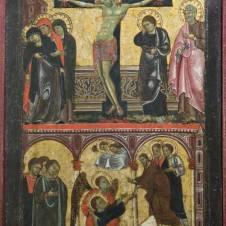 Maestro di Faenza (sec. XIII), Crocifissione e Assunzione di San Giovanni Evangelista