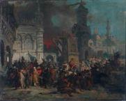 ANNIBALE GATTI (1827-1909) La presa di Majorca Olio su tela, cm 53,5 x 66 Inv. n. 1019 Provenienza: donazione Giovanni Montanari, 1897