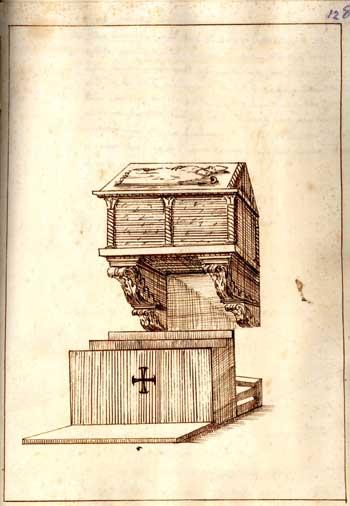 Sec. XVII, Arca scolpita da Tura da Imola, seppia su carta, cm. 25x18, Faenza, Archivio Vescovile