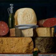 ANONIMO LOMBARDO (secolo XIX) Strutto, formaggi, salumi e sapone Olio su tavola, cm 59 x 79 Collezione privata