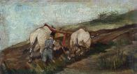 GIOVANNI FATTORI (1825-1908) (attr.) Buoi all'aratro Olio su tavola, cm 12 x 20 Inv. n. 572 Firmato in basso a destra Provenienza: donazione Papiani, 1969, n. 5